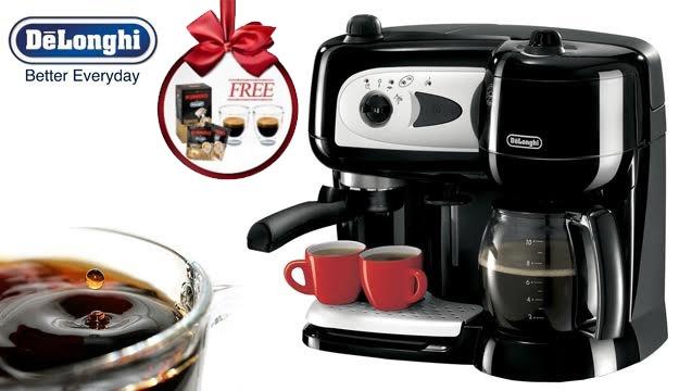 14 off delonghi combi espresso capuccino and drip coffee maker free set of 2 espresso cups. Black Bedroom Furniture Sets. Home Design Ideas