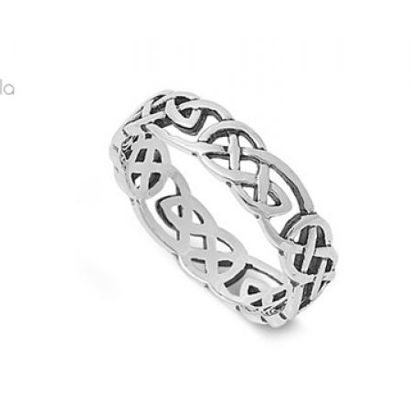 Celtic Wicca Pagan Eternity Ring Sterling Silver 925