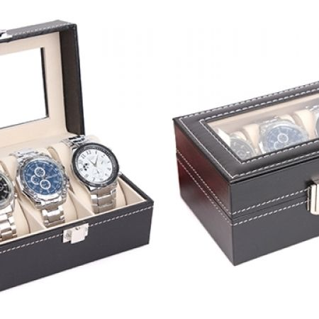 28% Off Black Leather Watch Organiser 3 Grids (Only $12 instead of $16.66)