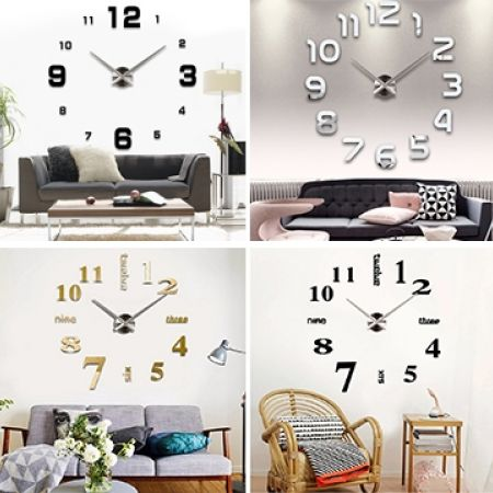 46% Off DIY 3D Numbers Wall Art Clock - Silver (Only $19 instead of $35)