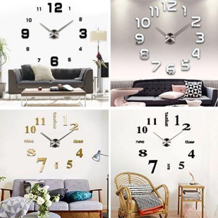 46% Off DIY 3D Numbers Wall Art Clock - Silver