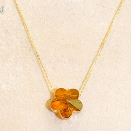 24% Off 18kt Gold Swarovski Stone Flower Necklace - Orange (Only $53 instead of $70)