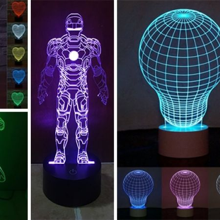 3D Heart Shaped LED Color Changing Light Table Lamp
