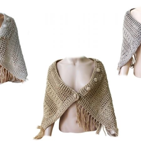 53% Off Open Knit Poncho Scarves with Fringe - Off-White (Only $9.50 instead of $20)