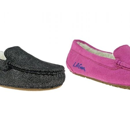 18% Off LA Gear Foil Faux Suede Moccasin with Faux Fur Lining Slippers - Black- Women - XS (36/37) (Only $28 instead of $34)