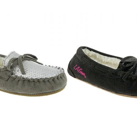 18% Off LA Gear Sequin and Faux Suede Moccasin with Bow  - Black- Women - XS (36/37) (Only $28 instead of $34)