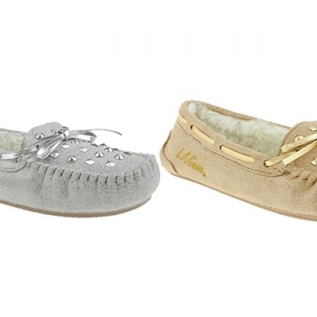 18% Off LA Gear Metallic Faux Suede Moccasin with Studs & Bow - Gold - Women - XS (36/37) (Only $28 instead of $34)