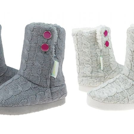 17 Off Capelli New York Cable Knit Girls Indoor Slipper Boot Grey