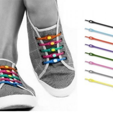 12-Pcs Silicone Elastic Shoelaces Glow In The Dark - White