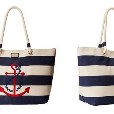 34% Off Tommy Hilfiger Canvas Stripe Tied Anchor Rope Tote Handbag - Women (Only $165 Instead of 250)