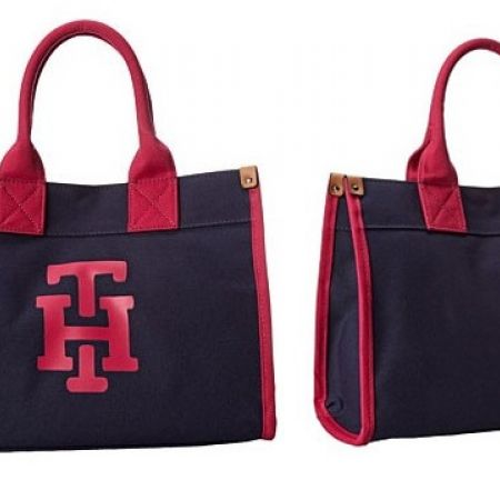 34% Off Tommy Hilfiger Canvas TH Print Medium Tote Handbag - Women ( Only $165 instead of $250)