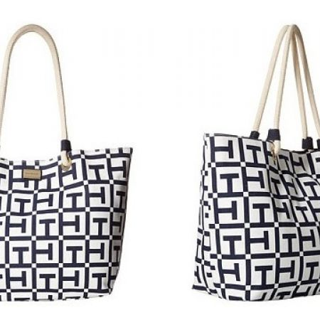 34% Off Tommy Hilfiger Large Signature Printed Canvas Rope Tote handbag - Women (Only $165 instead of $250)