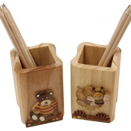 27%Off Wood Pencil Holder With 4 Color pencils - Teddy Bear (Only $4 instead of $5.50)