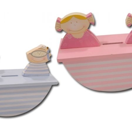31% Off Wood Boat Money Box - Pink (Only $9 instead of $13)