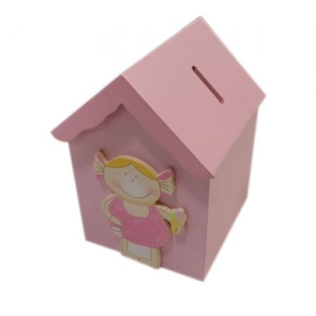 25% Off Wood House Money Box - Pink (Only $15 instead of $20)