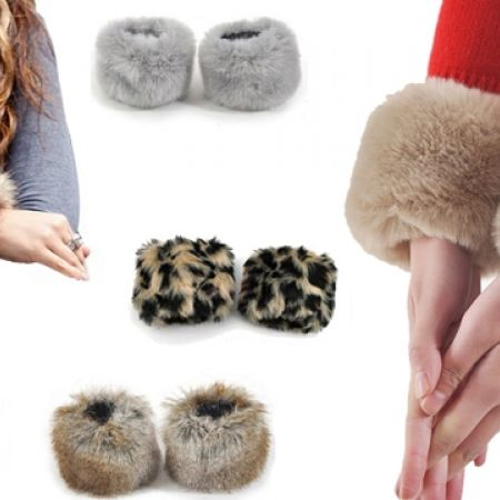 58% Off Women's Faux Fur Coat Cuff - Grey (Only $5 instead of $12)