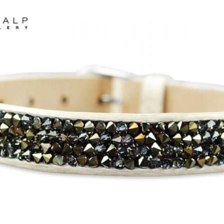 50% Off CrystalP Discontinued Rhodium Vivienne Bracelet - Multi Light Grey on Cream - Women (Only $58 instead of $116)