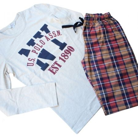 58% Off USPA Set Of 2 Pcs Checkered Multi Pajama - Beige - small - Women (Only $33 instead of $79)