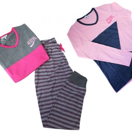 58% Off USPA 2-Piece Colorblock & Striped Pajama Set - Anthracite Melange - Women - S (Only $33 instead of $79)