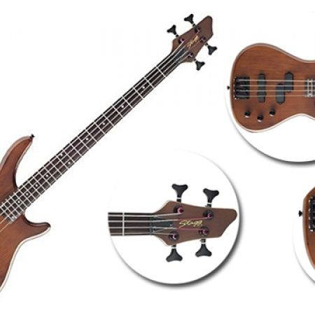 35% Off Stagg Fusion Electric Bass Guitar - Walnut Satin (Only $191 instead of $295)