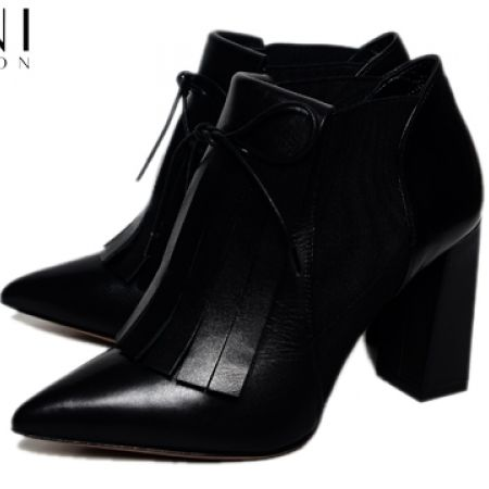 78f2e0e9001fad 70% Off Les Trois Garcons Vitello Fringe Ankle High Heel Boots - Nero -  Size 36 - Women (Only  141 instead of  469)