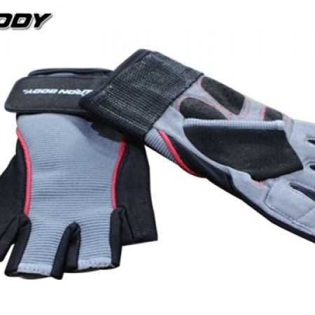 18% Off Iron Body Gel Extrem Half Finger Gym Gloves Weightlifting Sport Exercise - Grey/Black/Red - Unisex - Small (Only $23 instead of $28)