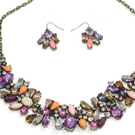 35% Off Set Of Multicolor Non-Precious Stone Choker Necklace With Stud Earrring (Only $13 instead of $20)