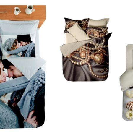 26% Off Set Of 4 Pcs 3D Digital Print Satin de Cotton Bedding Set For Queen Size - 1 Pc Bedsheet, 1 Pc Duvet Cover and 2 Pcs Pillow Cases - Lover Couple (Only $86 instead of $117)