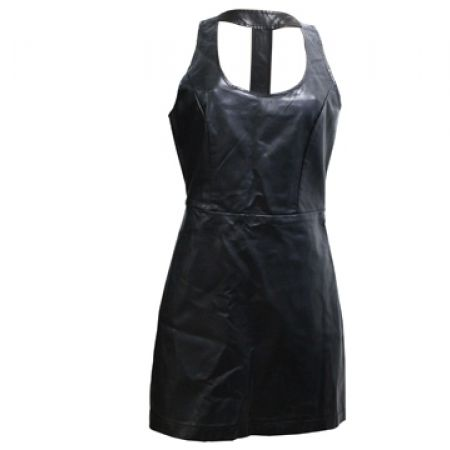 35% Off Faux Leather Open Back Dress - Black - Size: 36 - Women (Only $30 instead of $46)