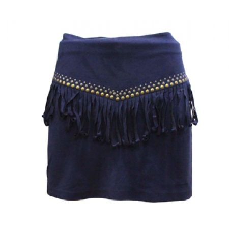 34% Off Party Club Fringe Mini Skirt - Navy Blue - Size: 38 - Women (Only $23 instead of $35)