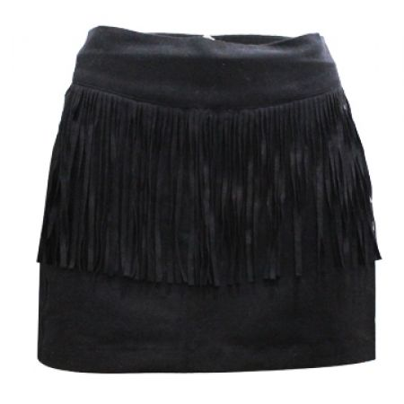 34% Off Sexy Fringe Mini Skirt - Black - Size: 38 - Women (Only $23 instead of $35)