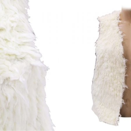 35% Off JF Lefon Fluffy Faux Fur Classy Short Vest - White - Size: 36 - Women (Only $35 instead of $54)