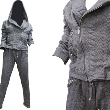 35% Off Raw Denim 2 Pcs Long Sleeve Hoodie and Pants Tracksuit Outfits - Grey - Size: Large (Only $60 instead of $92)