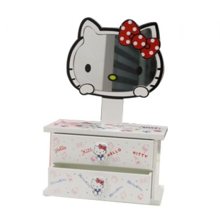 28% Off Wooden Jewelry Box with 2 Storage Drawers and Hello Kitty Mirror - Hello Kitty (Only $13 instead of $18)