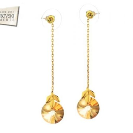 62% Off Swarovski Elements 14K Gold Plated Circle Long Earrings - Champagne - Women (Only $17 instead of $45)