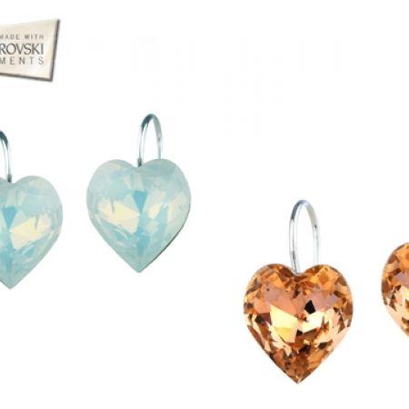 55% Off Swarovski Elements Crystal Heart Earrings - Light Blue - Women (Only $25 instead of $55)