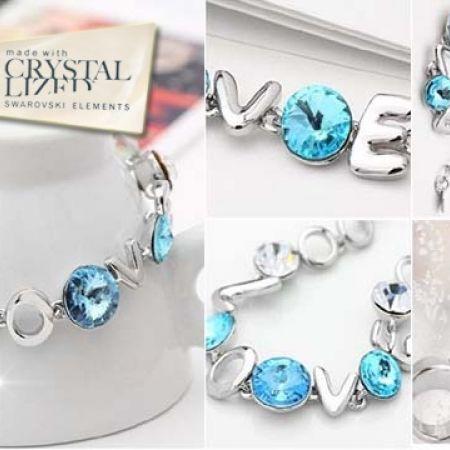 54% Off Swarovski Elements Love Bracelet with Rhinestone - Light Blue (Only $34 instead of $74)