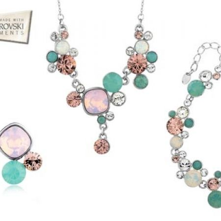 40% Off Swarovski Elements Set Of Multicolored Light Set Necklace With Earrings and Bracelet - 4 Pcs - Women (Only $154 instead of $256)