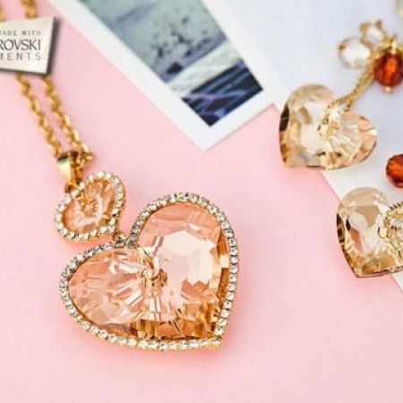 50% Off Swarovski Elements Crystal Hearts Earrings - Champagne - Women (Only $24 instead of $48)