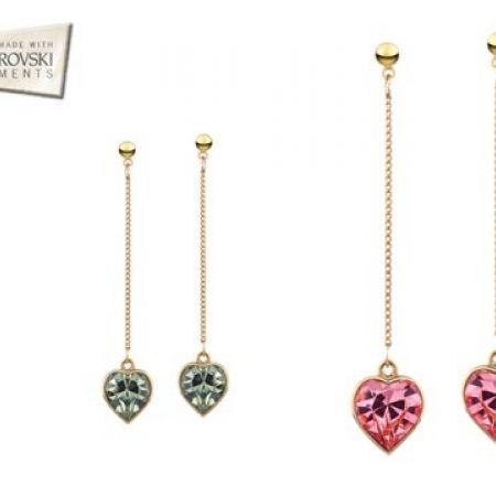 50% Off Swarovski Elements Heart Earrings - Grey - Women (Only $26 instead of $52)