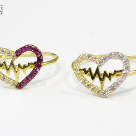 10% Off 18K Gold Heart Beats Zircon Ring - Size: 10 - Fuchsia/White (Only $69 instead of $77)