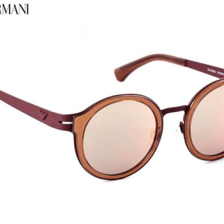 50% Off Emporio Armani Round Sunglasses EA 2029 3103/4Z Crystal Matt Brown Frame With Rose Gold Mirror Fade - Unisex (Only $122.50 instead of $245)