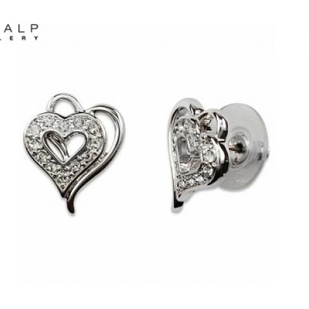 49% Off CrystalP Rhodium Double Hearts Earrings (Only $29 instead of $57)