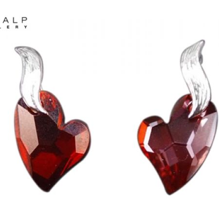 49% Off CrystalP Rhodium Flame Heart Earrings - Burgundy (Only $35 instead of $69)