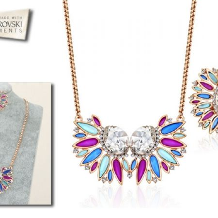 45% Off Swarovski Elements Set Of Multicolored Necklace and Earrings - 3 Pcs - Women (Only $84 instead of $152)
