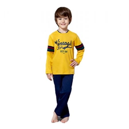 52% Off RolyPoly Interlok Vintage Style Pyjamas - Age: 1 - Yellow/Navy - Boys (Only $14 instead of $29)