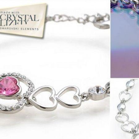 52% Off Swarovski Elements Love Bracelet - Pink - Women (Only $28 instead of $58)