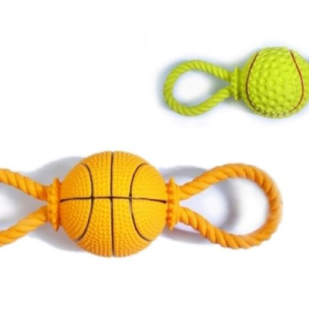 40% Off Latex Ball Toy With Rope Dog Chew - 28 cm - Orange (Only $6 instead of $10)