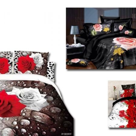34% Off Set Of 4 Pcs 3D Digital Bedding Set For King & Queen Size 1 Pc Bed Duvet Cover, 1 Pc Bed Sheet and 2 Pcs Pillowcases - Red Floral Printed (Only $43 instead of $65)