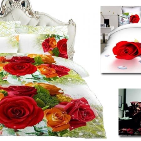 34% Off Set Of 4 Pcs 3D Digital Bedding Set For King & Queen Size 1 Pc Bed Duvet Cover, 1 Pc Bed Sheet and 2 Pcs Pillowcases - Spring Flowers (Only $43 instead of $65)
